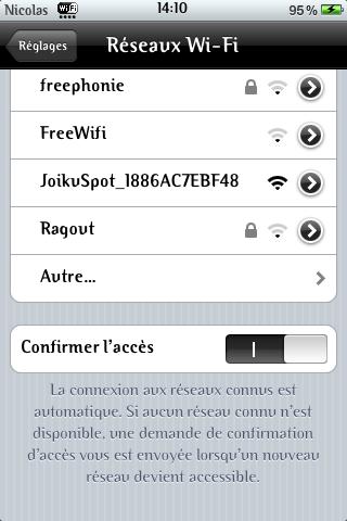 Connexion à Joikuspot à partir de l'Itouch