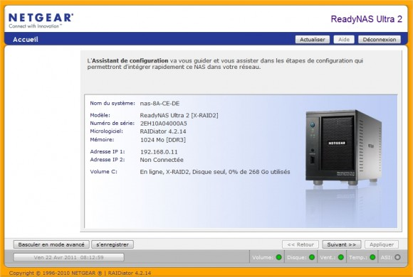 ReadyNAS Frontview configuration reparation erreur racine corrompue
