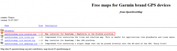 OSM pour Garmin Basecamp et GPS