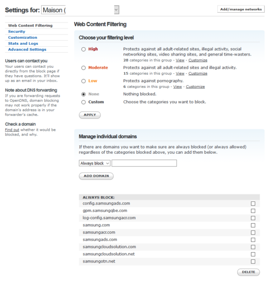 Blocage DNS OpenDNS Samsung TV publicites
