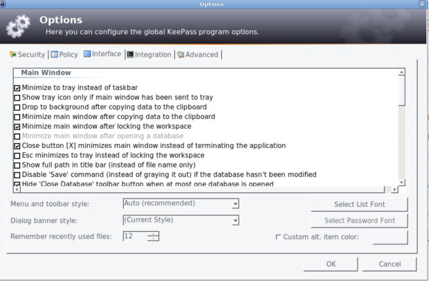 Keepass-Debian-Configuration