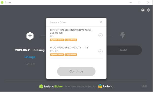 Balena-Etcher-ecriture-sur-SSD-Image-Raspbian-Raspberry-Pi
