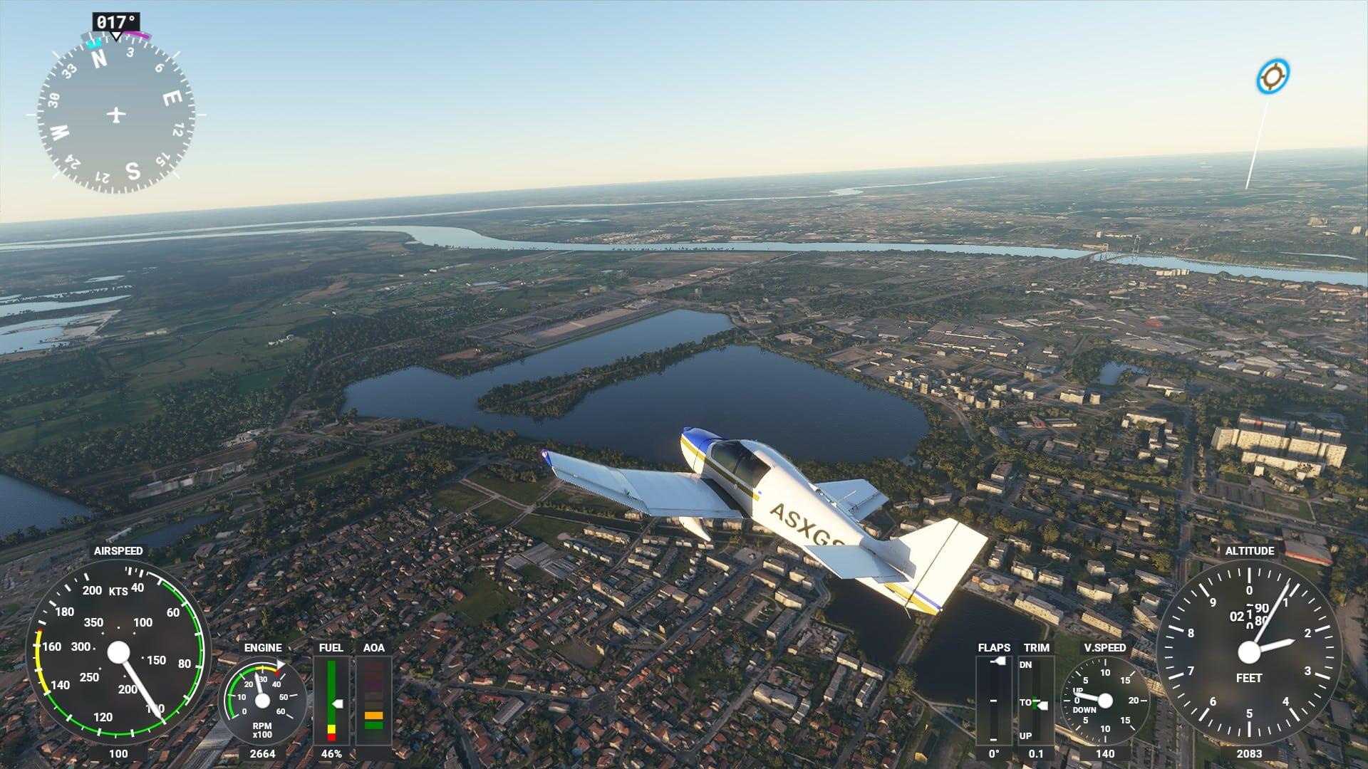 FS2020 Survol Bordeaux Lac