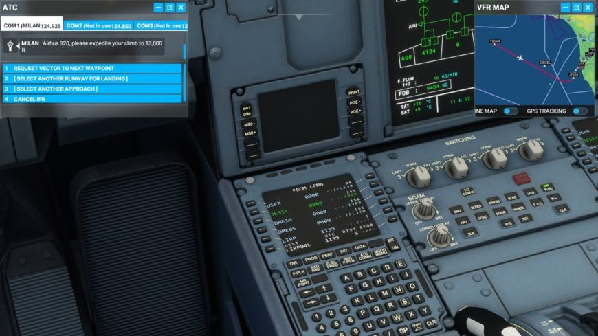 A320Neo cockpit plan de vol Flight Simulator 2020