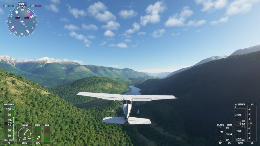FS2020 Survol montagne et riviere