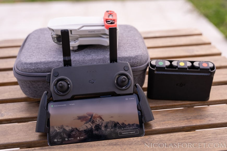 Test-Drone-DJI-Mavic-Mini-telecommande-chargeur-batteries